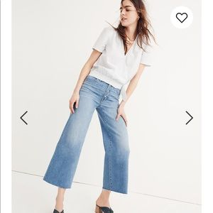 Madewell button front wide leg crops